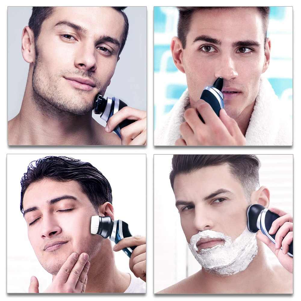 4in1 Afeitadora eléctrica rotativa afeitadora facial eléctrica para hombres barba masculina máquina de afeitado en seco cabezal usb recargable kit de aseo