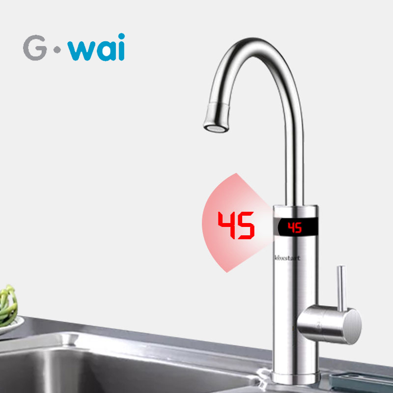 220V Kitchen Electric Instant Water Heater Tap Stainless Steel Electric Water Heater Faucet Instant Tankless Heater Tap