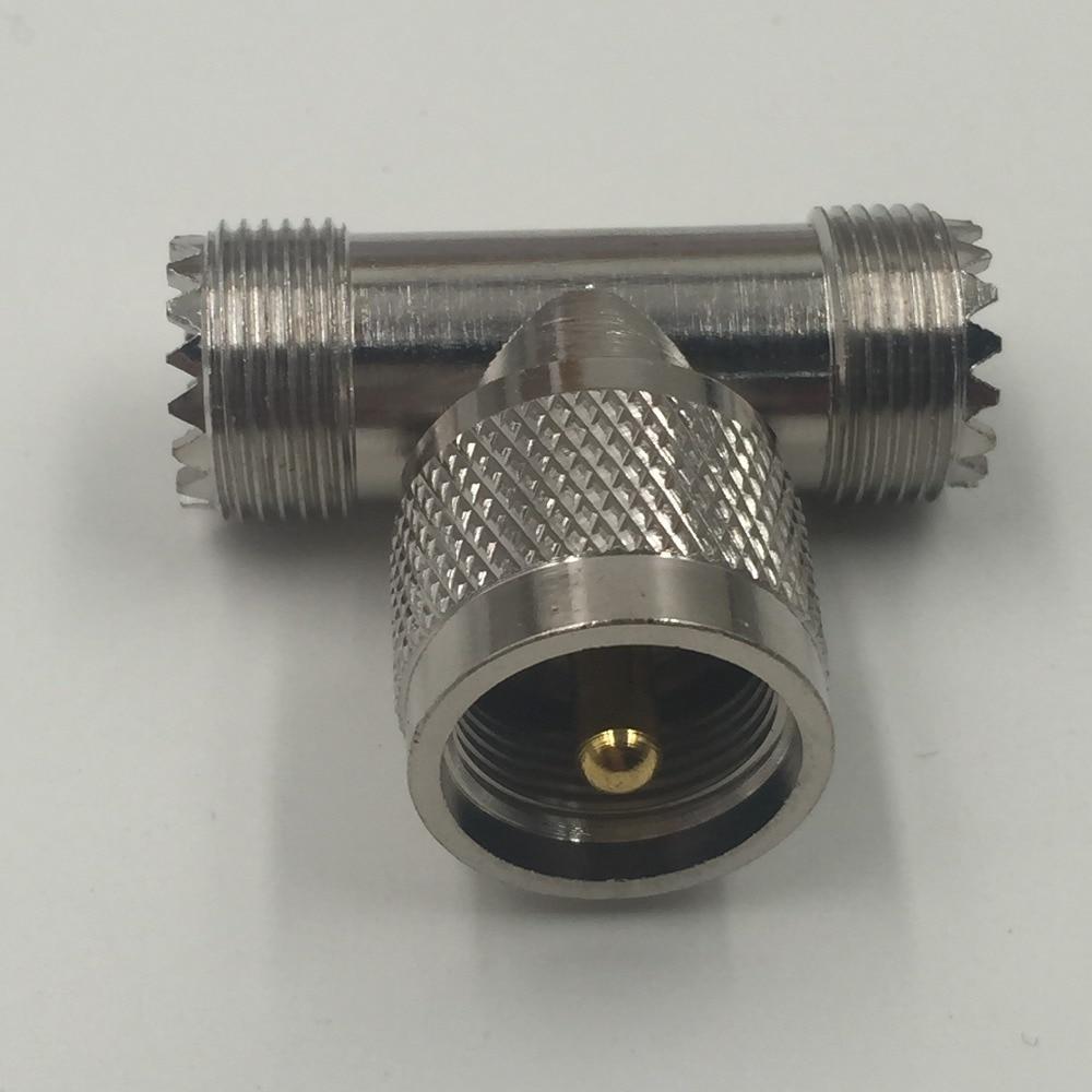1x Adapter UHF male PL259 plug to 2x SO239 female jack T Splitter connector 1M2F mini uhf uhf adapter mini uhf male to uhf female jack straight connector
