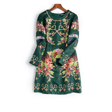 New autumn and winter  elegant French romantic flowers printing noble jacquard long sleeved dress