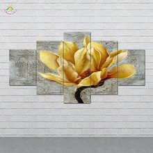 Golden Flower 5 Pieces/set Wall Art Paintings Picture Print on Canvas for Home Decoration Living Room