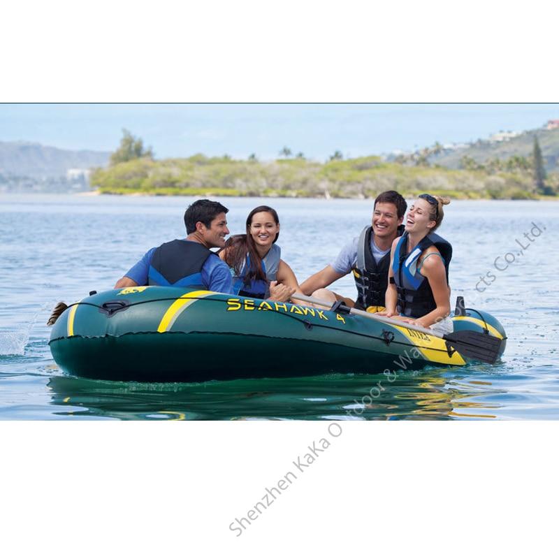US $252 0 30% OFF|Intex seahawk 4 person 351x145x48cm pvc inflatable boat  pvc sport fishing boat 68351 aluminium paddle pump dinghy raft A06007-in