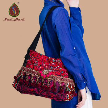 HOT Thailand canvas Women handbags Ethnic handmade tassel embroidery shoulder bags brand embroidered
