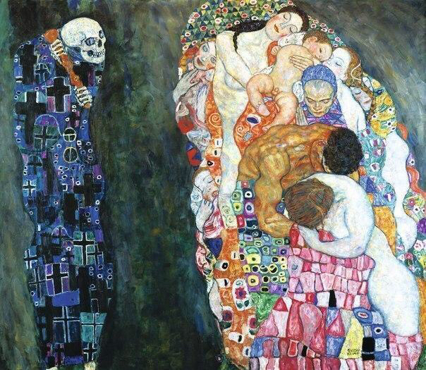 Oil Painting reproduction on Canvas, death and life by Gustav Klimt,Fast Free Shipping, 100% handmade,Museam QualityOil Painting reproduction on Canvas, death and life by Gustav Klimt,Fast Free Shipping, 100% handmade,Museam Quality