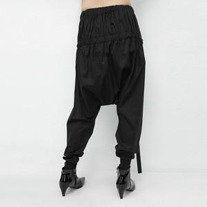 Image 4 - [Eam] 2020春黒弾性ウエストレースアップにスプライシング人格カジュアルなハーレムパンツファッション新女性のLA982