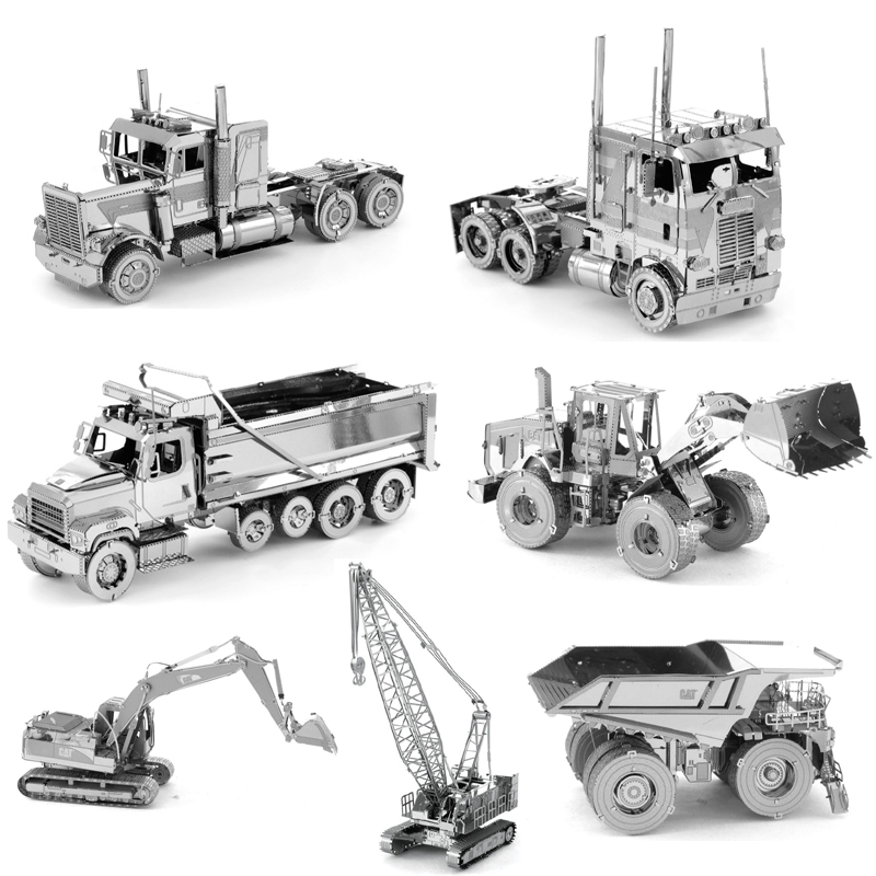 Mini 3D Metal Jigsaw Puzzle Construction Vehicle Series Model Assemble Toys DIY Truck Bulldozer Excavator Model Toys For Kids