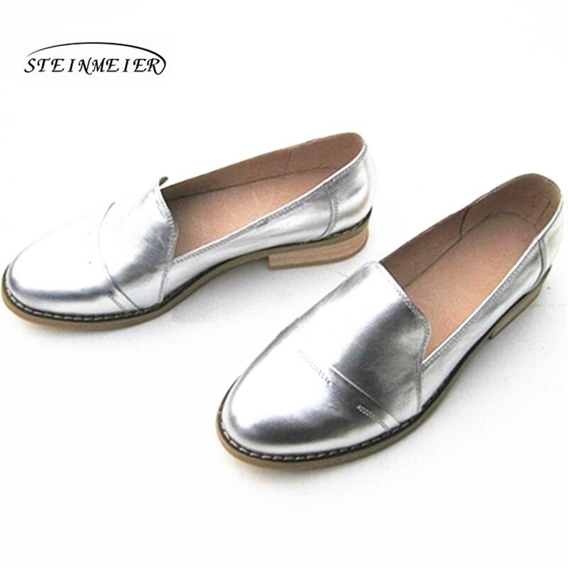 Planos de las mujeres zapatos Oxford zapatos de mujer de cuero genuino zapatillas de deporte señoras Brogues Slipon zapatos casuales Vintage zapatos Oxfords zapatos para las mujeres