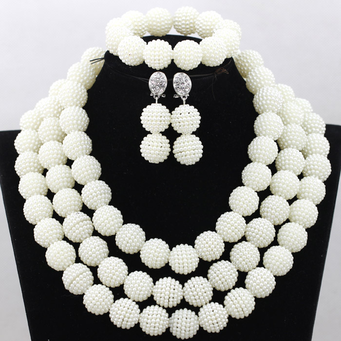 Trendy 3 Rolls White Beads Balls Indian Arab Necklace Set Wedding Party Dinner Dress Jewelry for Women Free Shipping WA720
