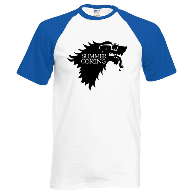 Game Of Thrones Summer is Coming Wolf Print Casual Fashion Men's T-shirt