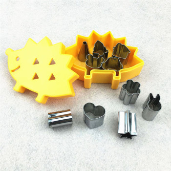 10pcs/set Vegetable Fruit Mini Cutters With Hedgehog Shape Box Cake Cookies Cutter Mold Kitchen Gadget Home Cutting Shape Tools