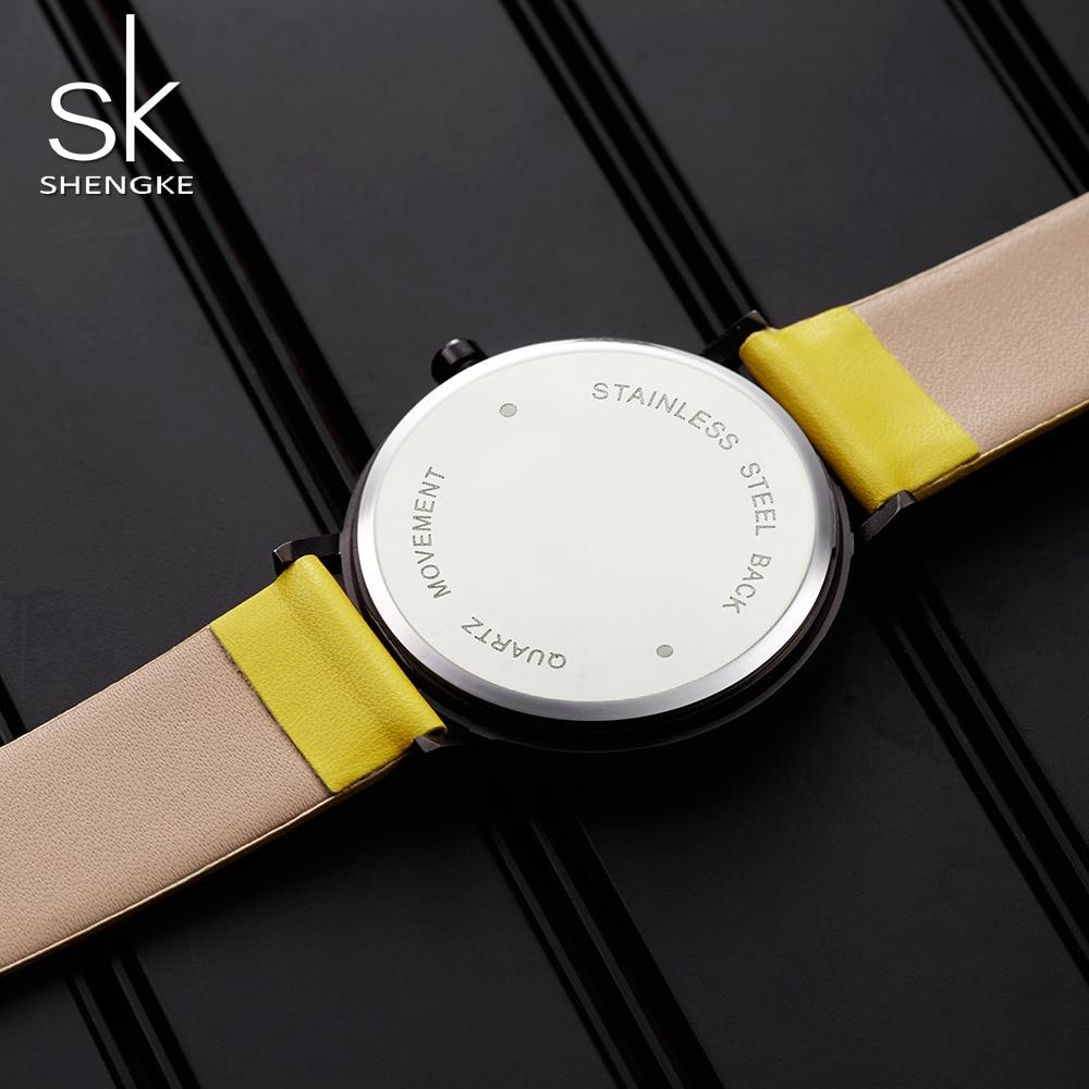 SHENGKE montres à Quartz Montre femmes mode luxe créatif Montre Femme Top marque montres en cuir horloge Reloj Mujer 5
