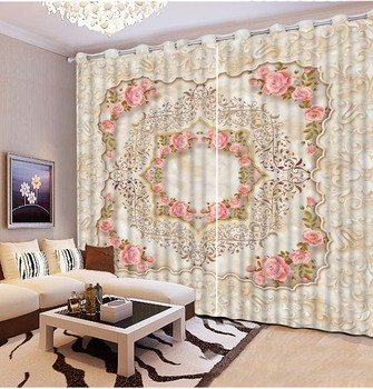 Curtains for living room Europe style marble flower Top Classic 3D European Style custom curtains