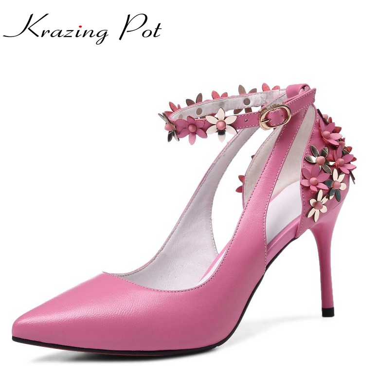 2017 fashion brand shoes flowers ankle straps thin high heels casual pointed toe solid women pumps party spring lady shoes L67 2017 shoes women med heels tassel slip on women pumps solid round toe high quality loafers preppy style lady casual shoes 17