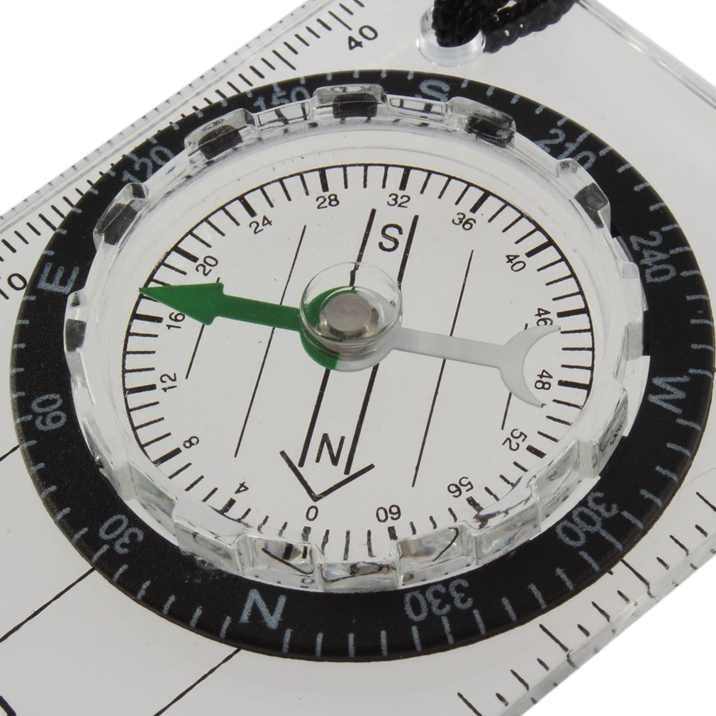 PPYY NEW -Mini All In 1 Outdoor Hiking Camping Baseplate Compass Map Measure Ruler