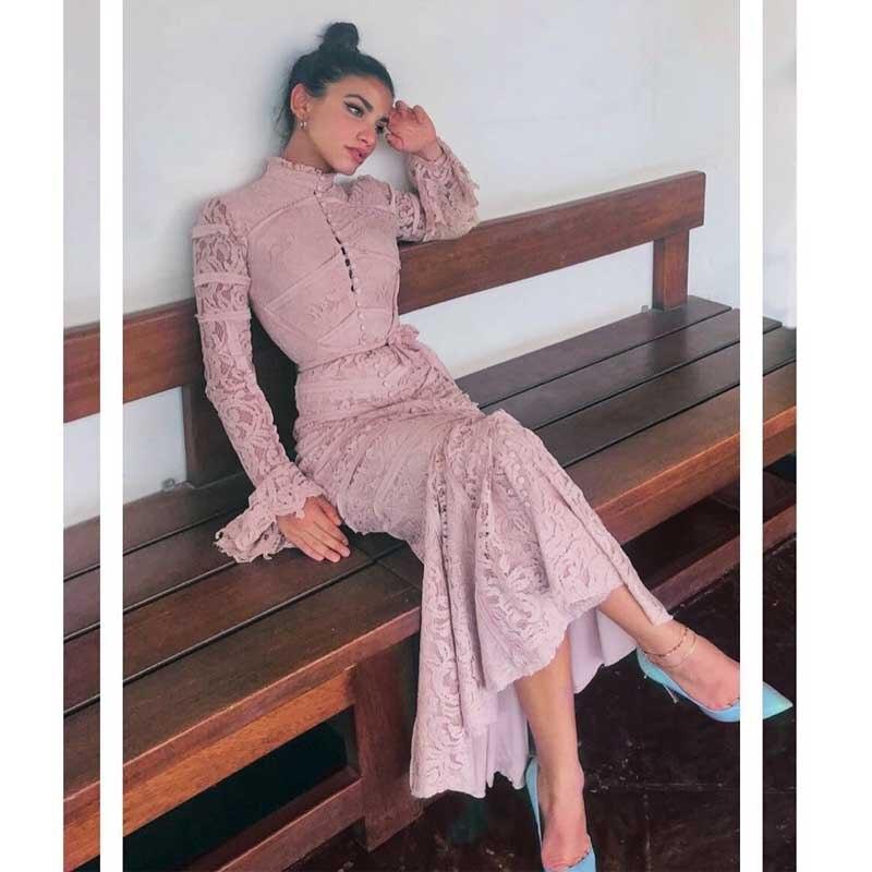 En gros 2019 date noir et rose dentelle à manches longues ceinture décoration décontracté célébrité fête Bandage robe (H2699)-in Robes from Mode Femme et Accessoires    1