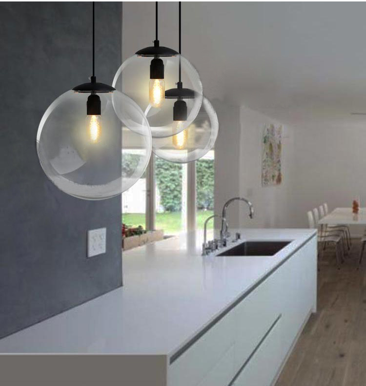 Phube Lighting Modern Glass Ball Pendant Light Bar Restaurant Living Room Pendant Light Lighting phube lighting modern pendant light black white green grey pendant light bar restaurant living room lighting