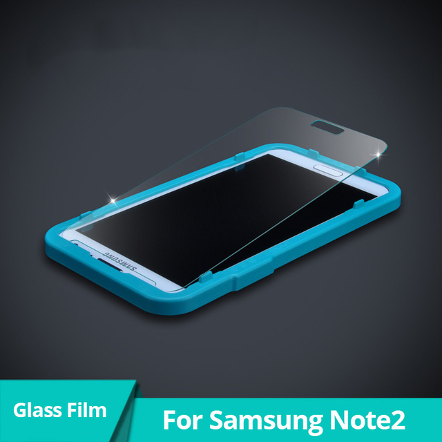 Revestimiento anti-huella digital protector de pantalla de cristal templado para samsung galaxy note2 película protectora delantera con papel de aluminio caja de herramientas