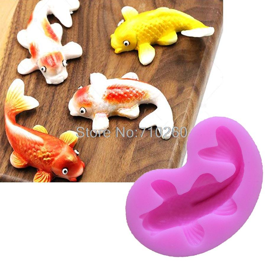 M103 silicone fondant cake molds 3d fish candle moulds for Silicone fish molds