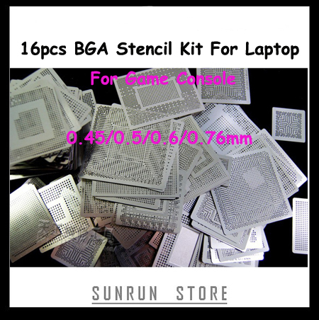 HOT 16pcs BGA Stencil Kit For Laptop For Game Console 360CPU PS3-CPU XBOX Reballing Stencil Direct Heating Templates Set
