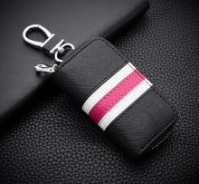 Fashion British Style Colorful Stripes Key Wallet Genuine Leather Key Wallet For Car Square Zipper Key Case Wallet cheap Meiyashidun Cow Leather Unisex 8 5cm Key Wallets CJ911 Pillow Solid