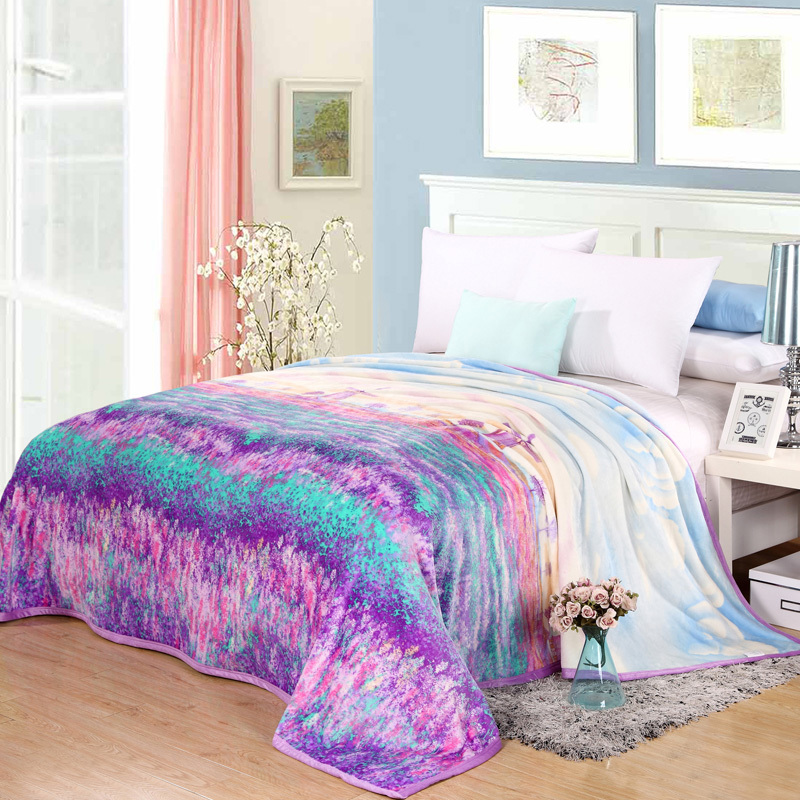 Romantic lavender print nap thin Blanket Soft flannel fleece fabric summer/<font><b>sofa</b></font> Throws winter Bed sheet twin queen double size