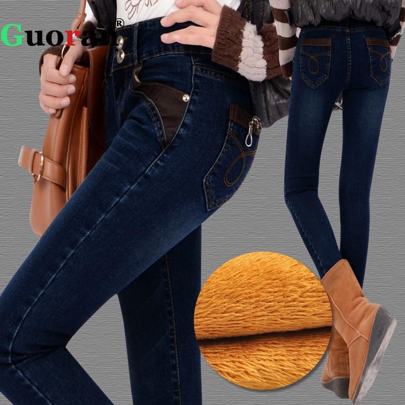 {Guoran} супер теплый толстый Джинсы для женщин Брюки для девочек для 2017, женская обувь зима мягкая флисовая синего джинсового цвета Мотобрюки женский Джинсы для женщин Леггинсы для женщин плюс размер 34