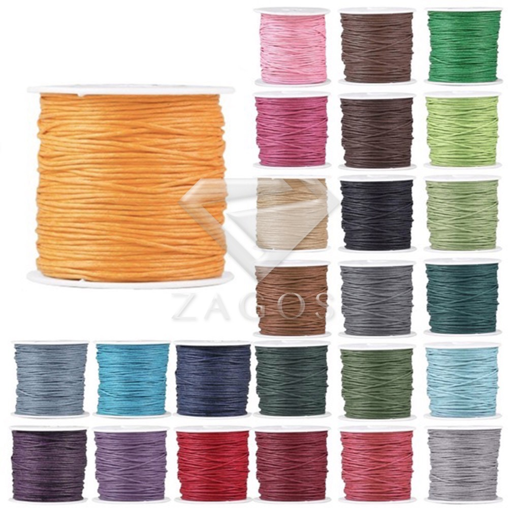 1 Roll 70m 0.8x0.8mm Waxed Cotton Finding Thread Cord 17 Color DIY Jewelley Making Fit Bracelet Necklace Chain Wholesale TC0116