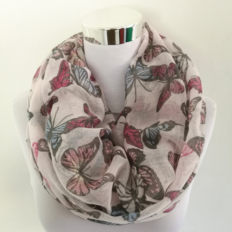 10pcs/lot New Fashion Women Butterfly Print Soft ring   Scarf   Cotton   Scarves     Wrap   Shawl Spring Autumn infinity   Scarves   for Women