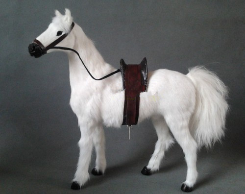 large 36x34cm simulation white horse toy with saddle, lifelike standing horse model, prop, home decoration gift t195 large 21x27 cm simulation sleeping cat model toy lifelike prone cat model home decoration gift t173