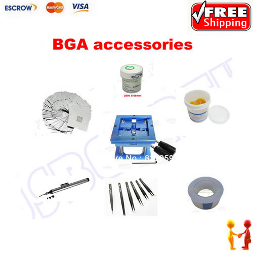 цена на bga reballing kit,bga solder paste,bga solder ball ,reballing station,90mm stencil 23pcs