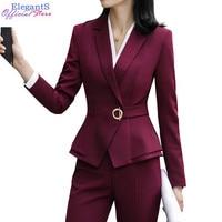 Elegant Pant Suits Women Office Lady Fashion Pants Blazer Set Casual Female Jacket Business Work Trousers Clothing 2019