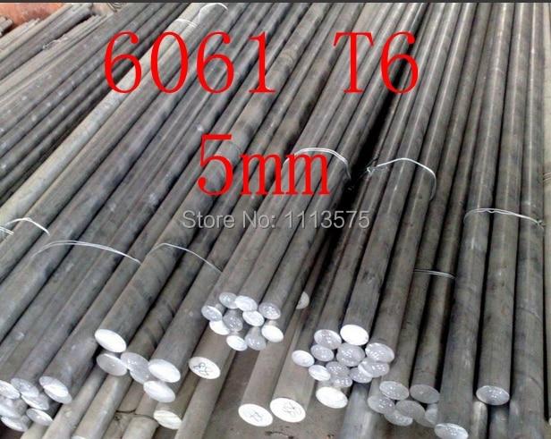 5mm 6061 T6 Al Aluminium Solid Round Bar Rod