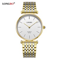 LONGBO Brand Fashion Luxury Couples Watches Business Style Lovers Men Women Super Thin Gold Quartz Watch