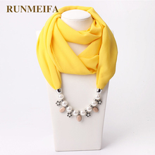RUNMEIFA New Pendant Scarf Necklace Muslim Necklaces For Women Chiffon Scarves Pendant Jewelry Wrap Pearls Female Accessories runmeifa new pendant scarf necklace bohemia necklaces for women chiffon scarves pendant jewelry wrap foulard female accessories