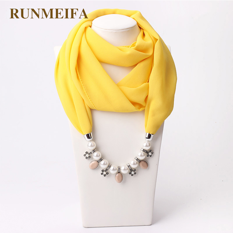RUNMEIFA New Pendant Scarf Necklace Muslim Necklaces For Women Chiffon Scarves Pendant Jewelry Wrap Pearls Female Accessories