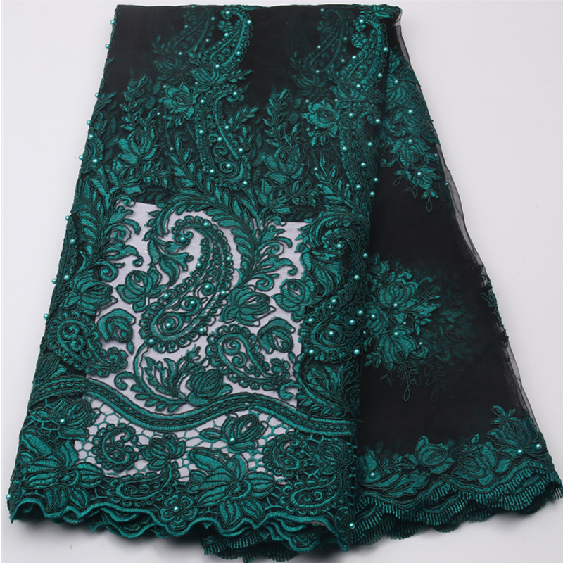 5 yards per lot Gold french lace fabric beaded tulle net lace fabric wholesale with stones for women dress lace NA539B 6