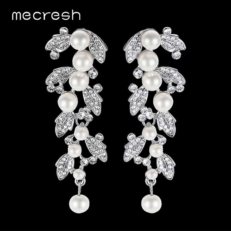 Mecresh Round Simulated Pearl Bridal Long Earrings Leaf Crystal Wedding Hanging Earrings Christmas Party Jewelry Gift EH604