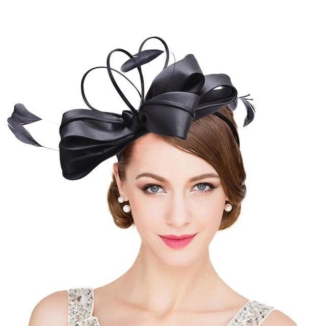 Fascinator Hats Women Feather Black Sinamay Kentucky Derby Race Cocktail  Wedding Church Ladies Headwear Headband T233 5262920673a1