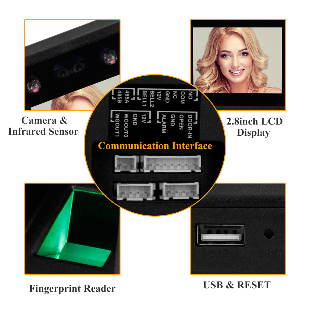 Image 5 - 2.8inch Facial Recognition Device USB Fingerprint Attendance Machine Access Control Keypad Reader Time Card Check in Machines-in Facial Recognition Device from Security & Protection
