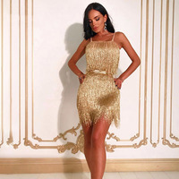 Seamyla New Fashion Evening Party Dress Women Sexy Spaghetti Strap Gold Tassel Clubwear Bodycon Dresses Vetidos Fringe Dress