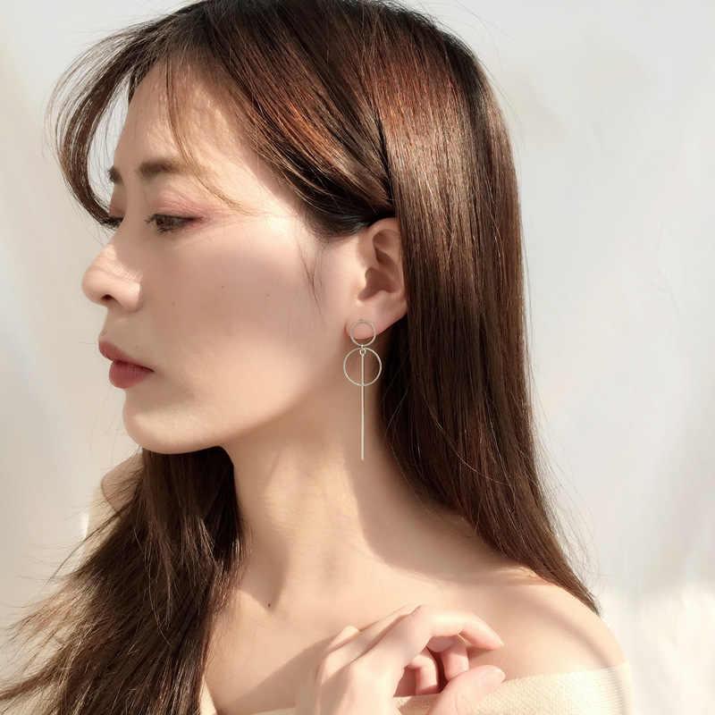 Sederhana Fashion 925 Sterling Silver Circle Rumbai Anting-Anting Panjang Telinga Garis Wanita Perhiasan Boucle D'oreille Eh1151