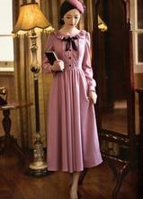 Free Shipping High Quality Sweety Ruffles Round Collar Lace Bowknot Long Sleeve Woman Chiffon Dress Pink