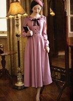 Free Shipping High Quality Sweety Ruffles Round Collar Lace Bowknot Long Sleeve Woman Chiffon Long Dress Pink