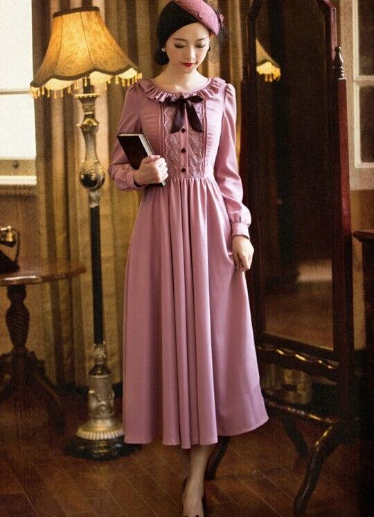 Livraison gratuite haute qualité Sweety volants col rond dentelle Bowknot à manches longues femme en mousseline de soie longue robe rose
