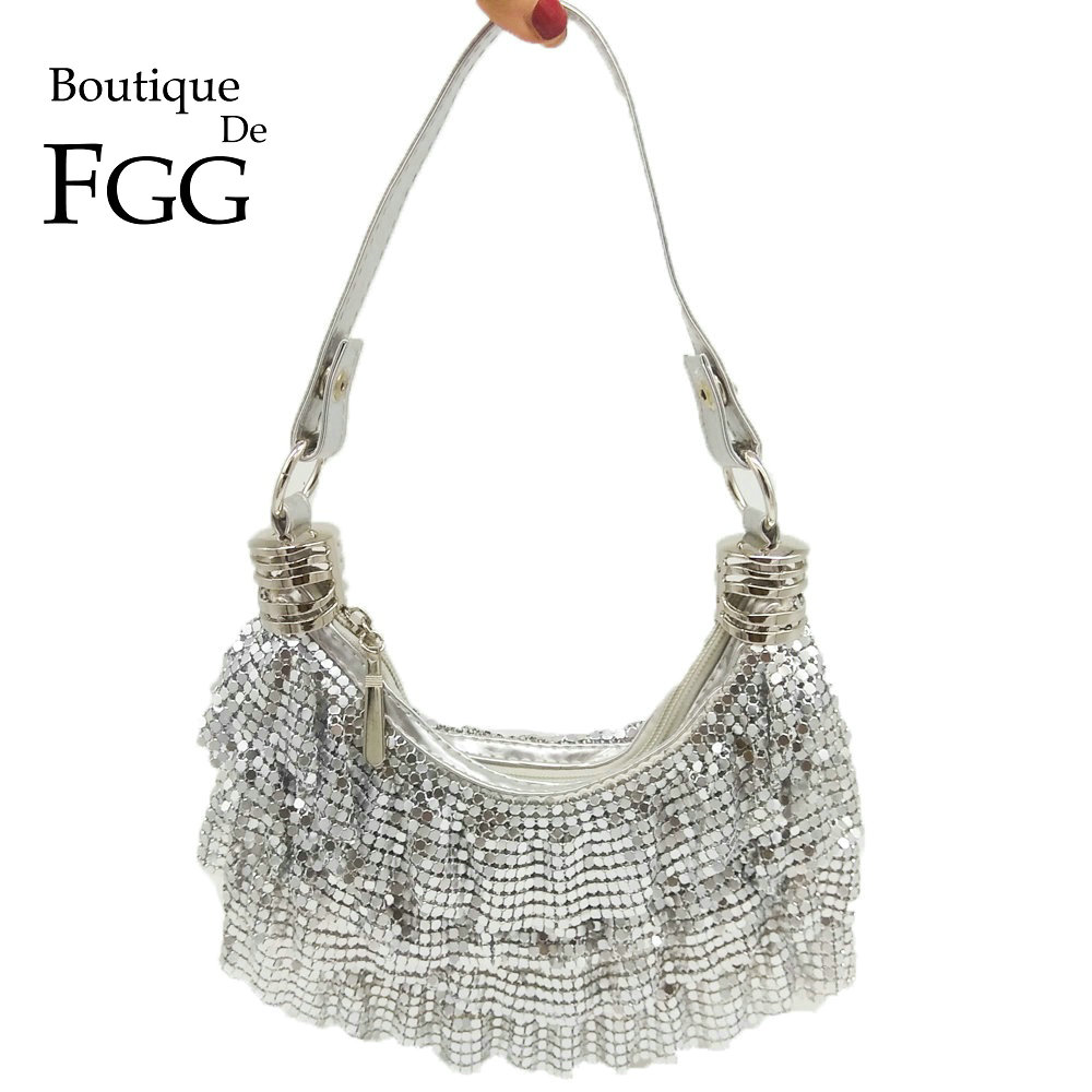 53f0524ef1df US $17.99 20% OFF|Boutique De FGG Women's Fashion Handbags and Purses  Silver Aluminum Evening Party Shoulder Bags Ladies Casual Crossbody Bag-in  ...
