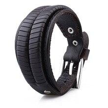 1 Pair Retail 26.5 cm  Coffee Unisex Genuine Leather  Free Size Adjustable Chain Bracelets