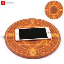 KOBWA светящееся волшебное Беспроводное зарядное устройство универсальное 5 Вт 10 Вт Qi Беспроводное быстрое зарядное устройство сменная подставка для iPhone samsung huawei