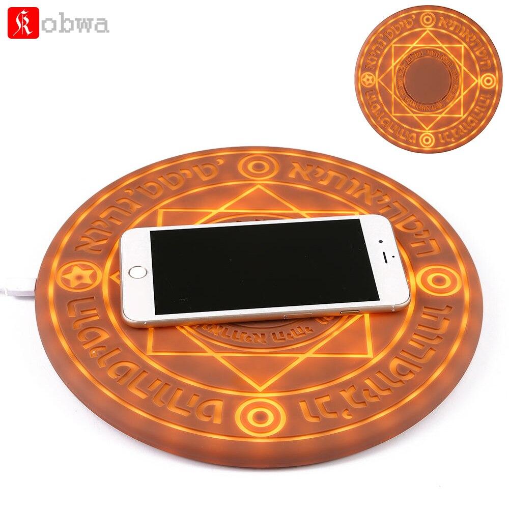 KOBWA Glowing Magia Matriz 5 w 10 w Carregador Sem Fio Universal Qi Sem Fio do Carregador Rápido Mudança pad Suporte para iPhone samsung Huawei