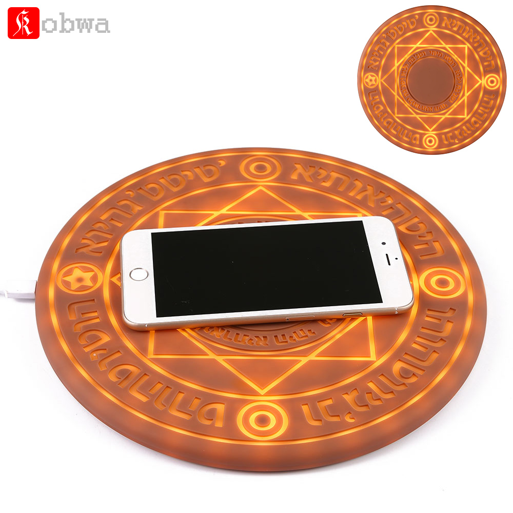 KOBWA Glowing Magic Array Wireless Charger Universal 5W 10W Qi Wireless Fast Charger Change Stand pad for iPhone Samsung HuaweiKOBWA Glowing Magic Array Wireless Charger Universal 5W 10W Qi Wireless Fast Charger Change Stand pad for iPhone Samsung Huawei
