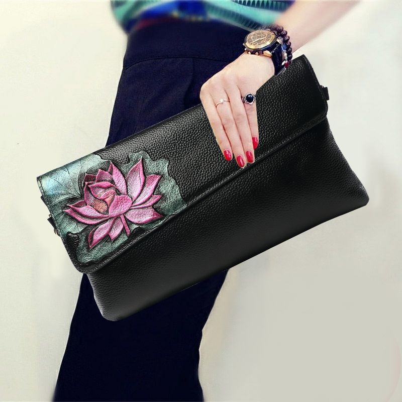 Chinese Style Genuine Leather Women Vintage Clutch Wallet Top Leather Flower Pattern Fashion Chain Shoulder Crossbody Bags Gift high quality chinese style genuine leather vintage flower pattern handbag shell package fashion shoulder messenge women bags